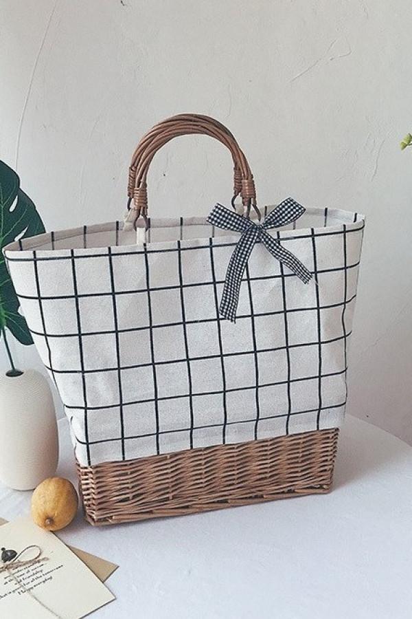 Beżowa torebka damska wiklinowa w kratkę shopper Aperto