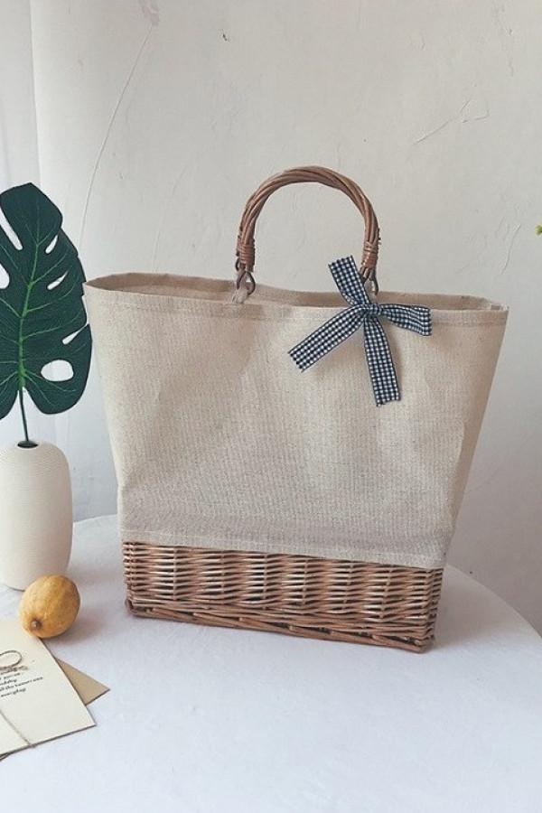 Ciemnobeżowa torebka damska wiklinowa shopper Aperto