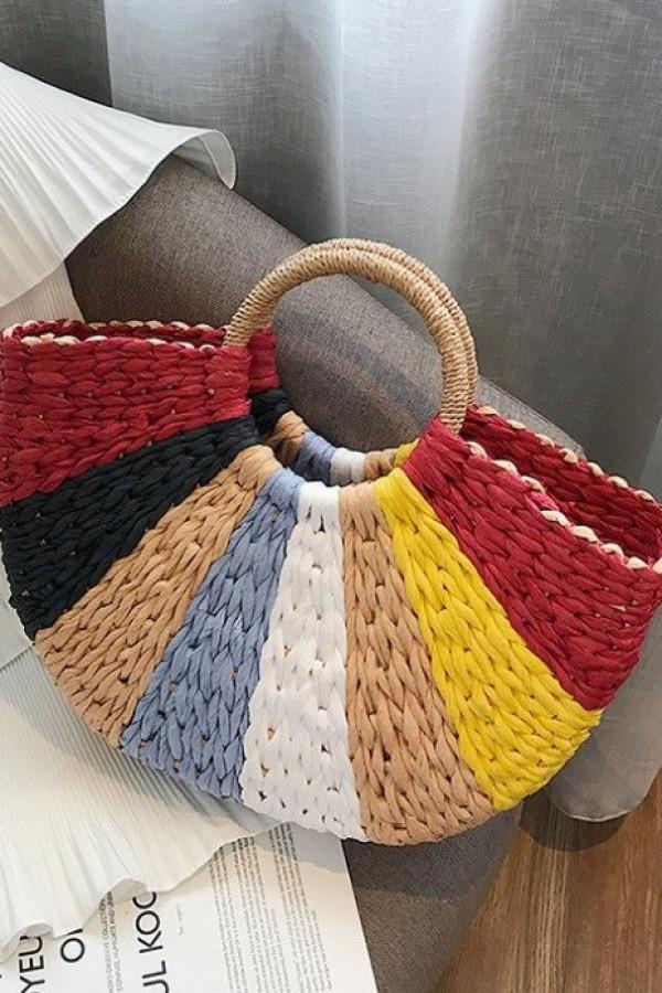 Kolorowa okrągła torebka damska wiklinowa koszyk Fresco