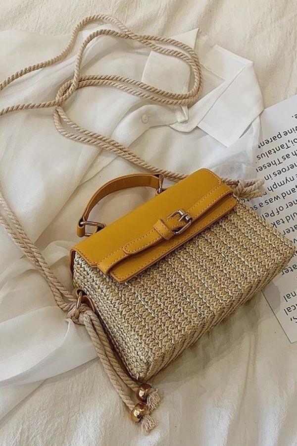 Żółta torebka damski wiklinowa kuferek Rita