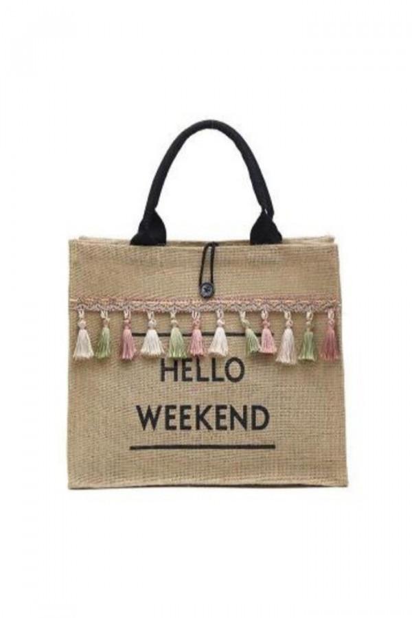 Brązowa torebka damska wiklinowa z frędzelkami shoper Weekend