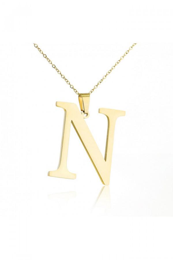 Naszyjnik celebrytka pogrubiona litera N