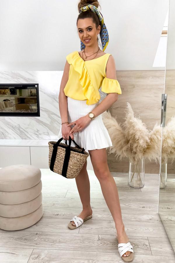 Żółta bluzka z falbankami na jedno ramię V-Neck Florence