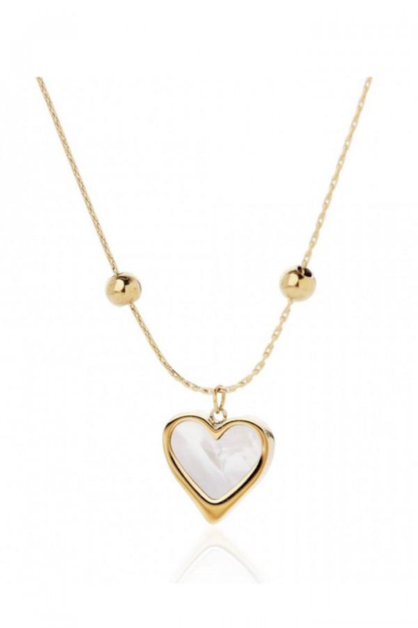 Naszyjnik celebrytka z perłowym sercem Flavie
