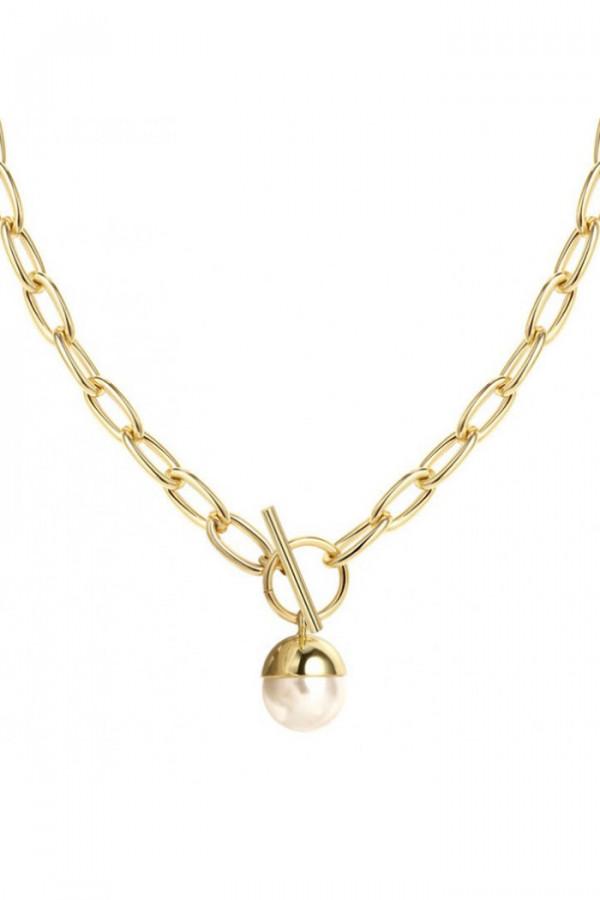 Naszyjnik celebrytka łańcuch z perłą Isaure