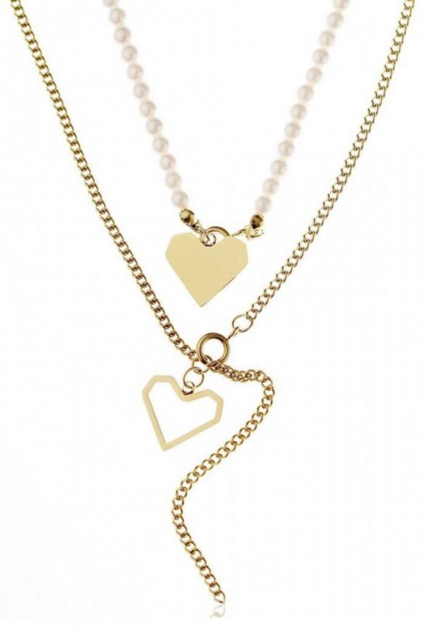 Naszyjnik celebrytka kaskadowy z sercami i perłami Lucile