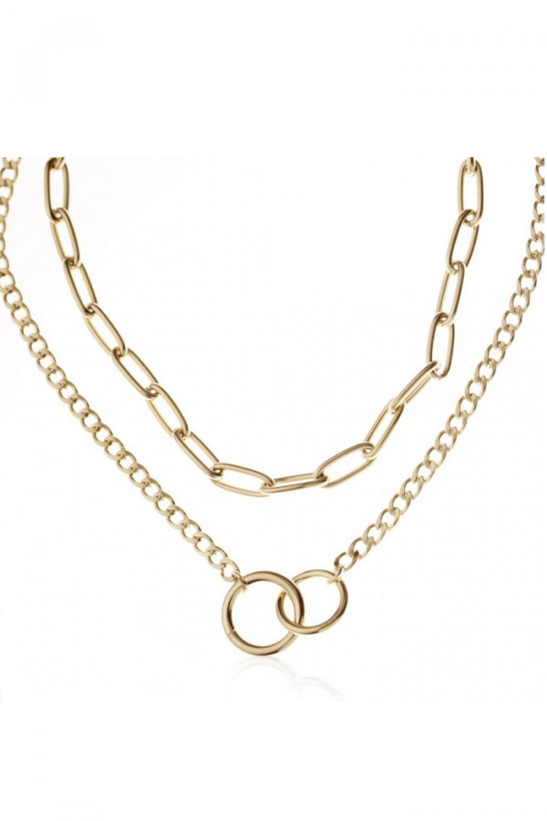 Naszyjnik celebrytka kaskadowy łańcuchy z kołami Maelie