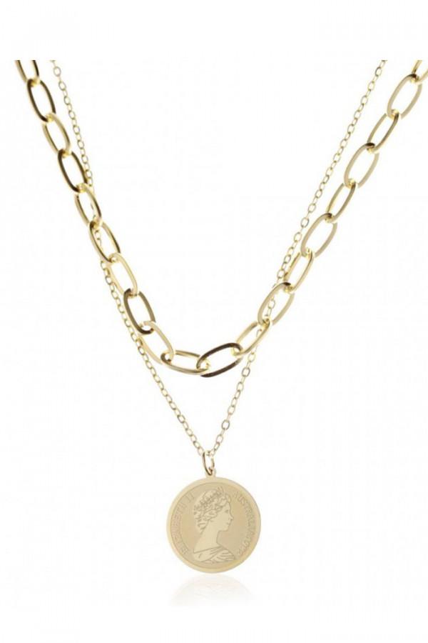 Naszyjnik celebrytka kaskadowy łańcuch z monetą Narcisse