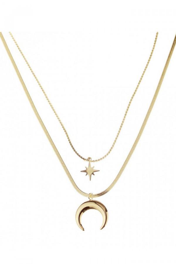 Naszyjnik celebrytka kaskadowy z gwiazdką i księżycem Pascale