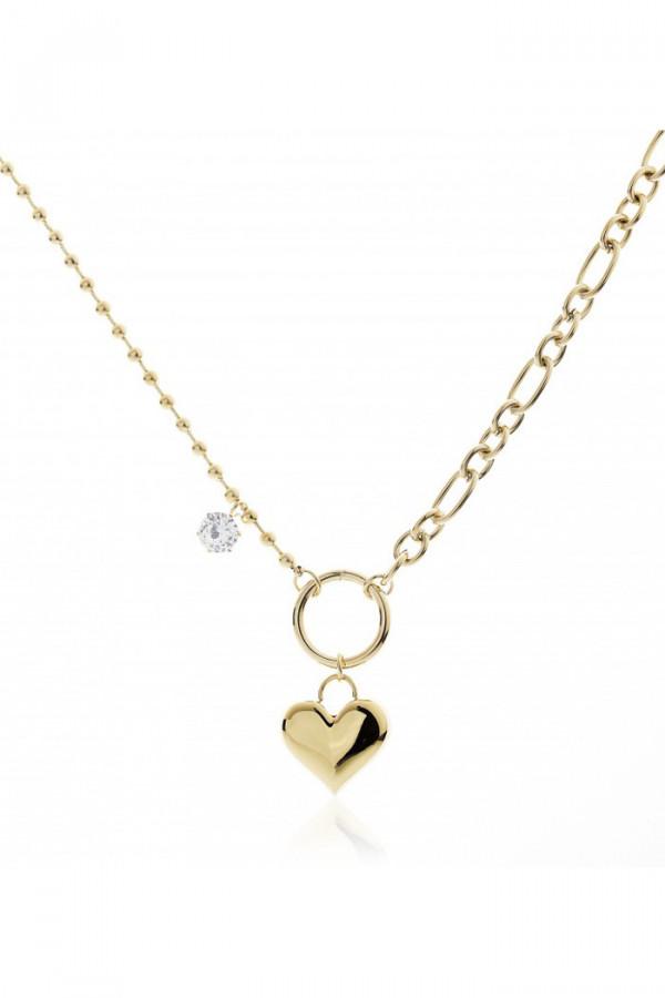 Naszyjnik celebrytka z sercem i kryształkiem Verene