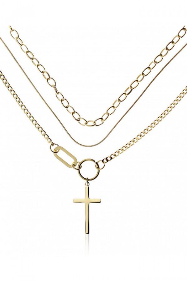 Naszyjnik celebrytka kaskadowy z krzyżem Zelie