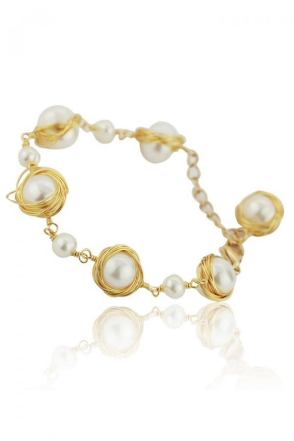 Bransoletka celebrytka z perłami Vasa