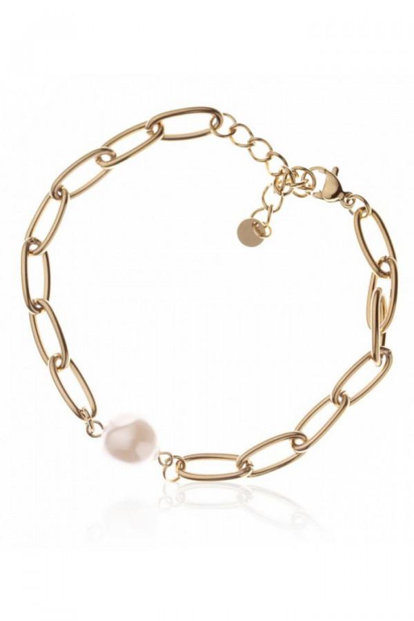 Bransoletka celebrytka łańcuch z perłą Quiana