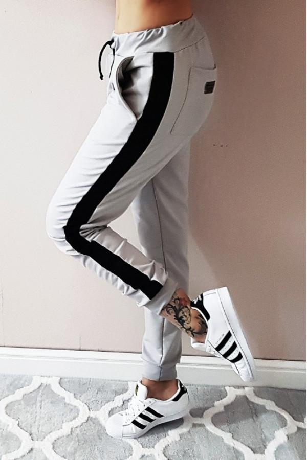Szare spodnie z czarnymi lampasami Toya
