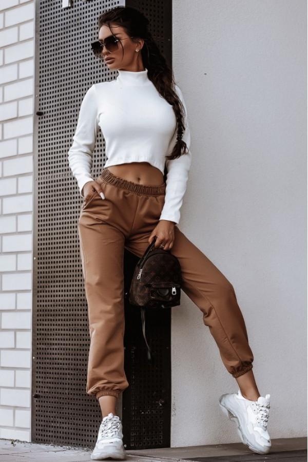 Karmelowe spodnie dresowe z wysokim stanem Olympe