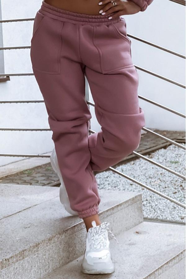Pudrowo różowe ocieplane spodnie dresowe oversize Solène