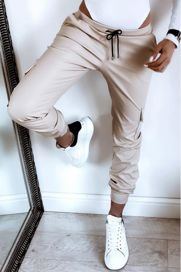 Beżowe skórzane spodnie bojówki Odette