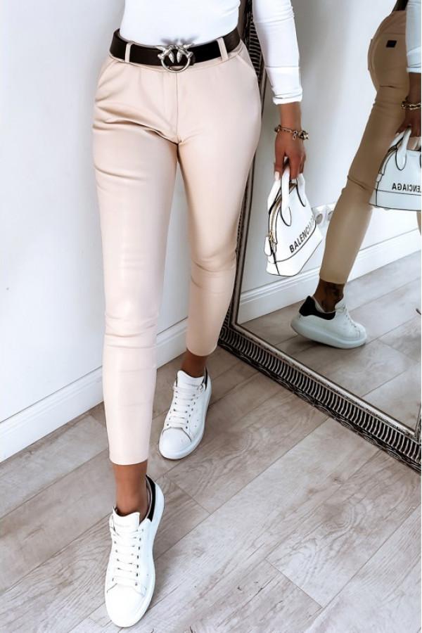 Beżowe dopasowane woskowane spodnie Séphora