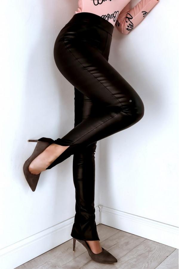 Czarne skórzane legginsy z wysokim stanem Rosette