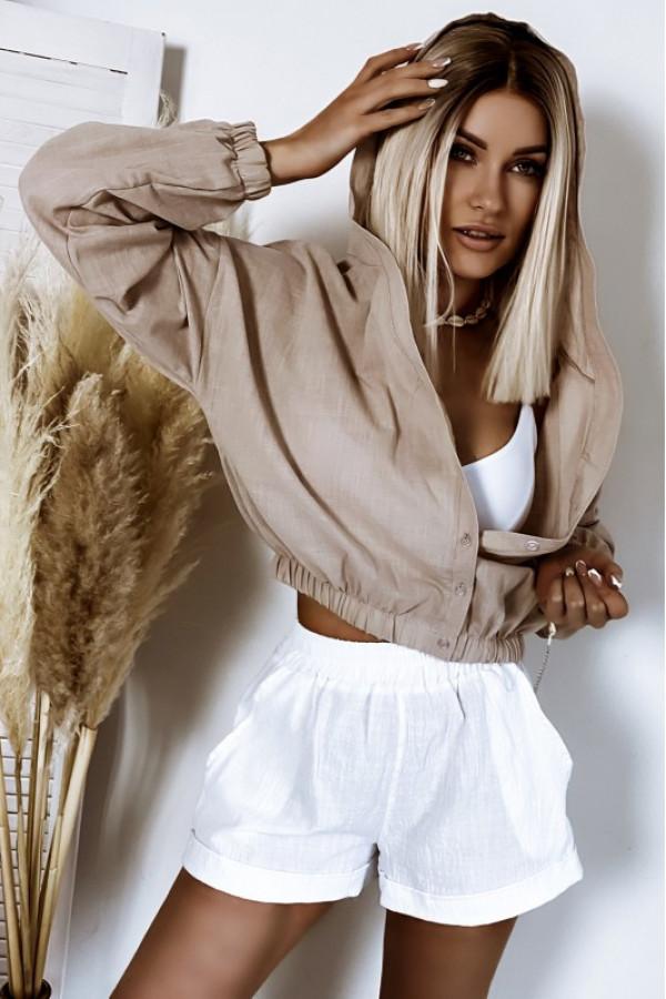 Białe bawełniane szorty boho Marielle