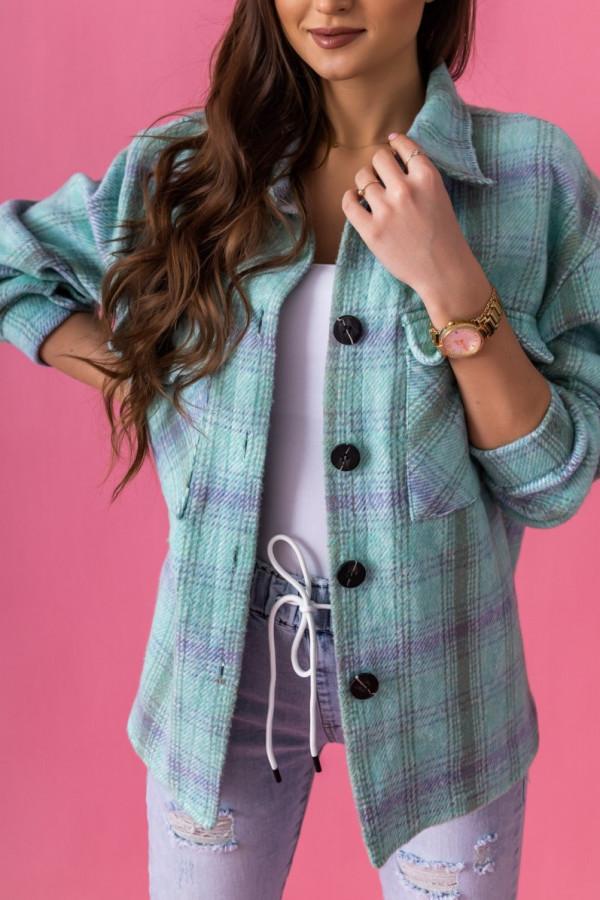Seledynowa koszula w kratkę Marina