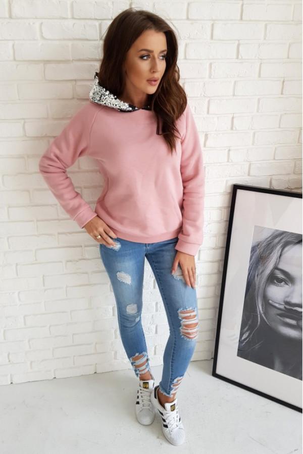 Pudrowo różowa bluzka z cekinami i kapturem Cerise