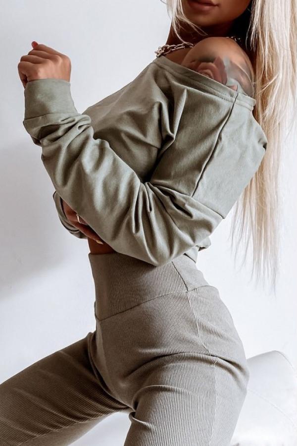 Khaki krótka bluza na jedno ramię Charline
