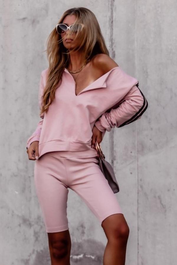 Różowa bluza z lampasami V-Neck Haydée
