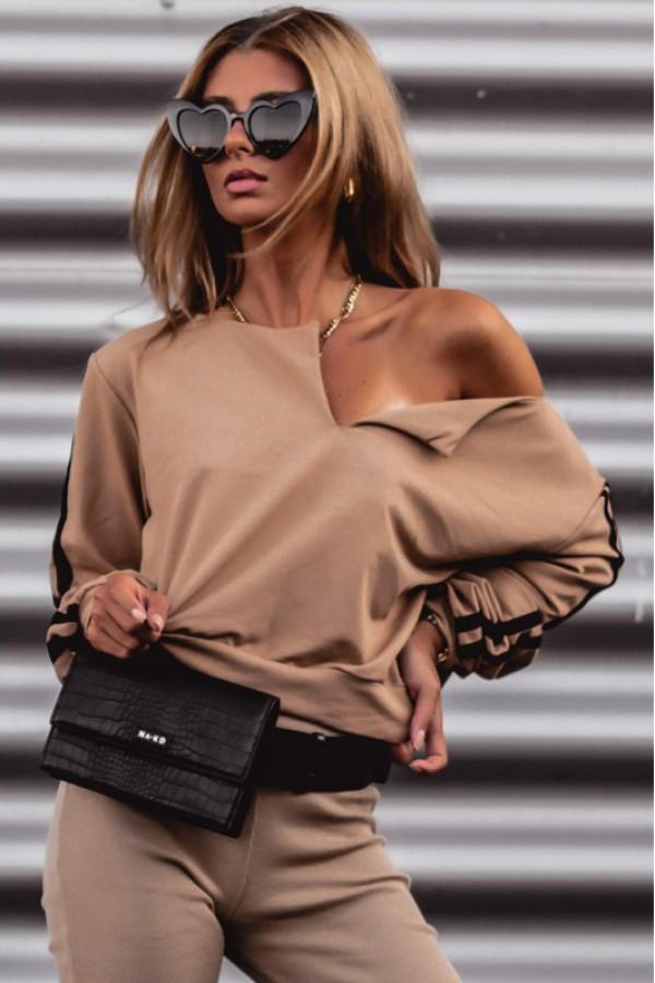 Karmelowa bluza z lampasami V-Neck Haydée