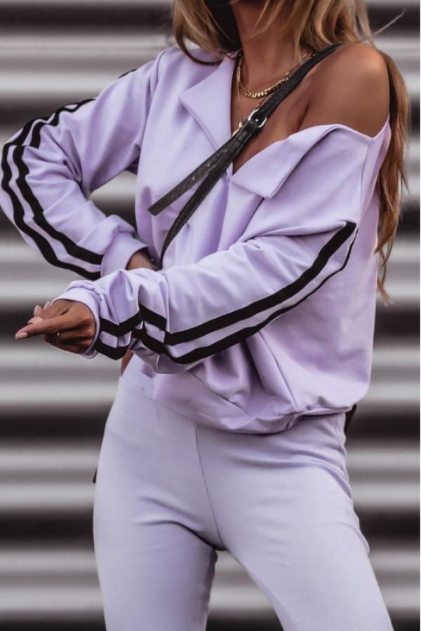 Fioletowa bluza z lampasami V-Neck Haydée