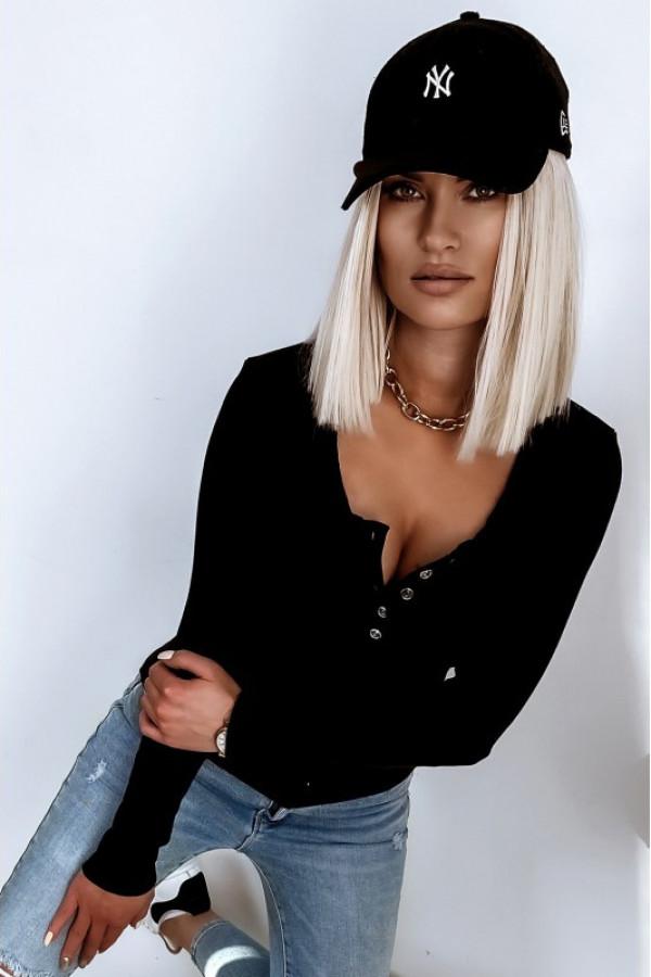 Czarna bluzka damska V-Neck Donatella