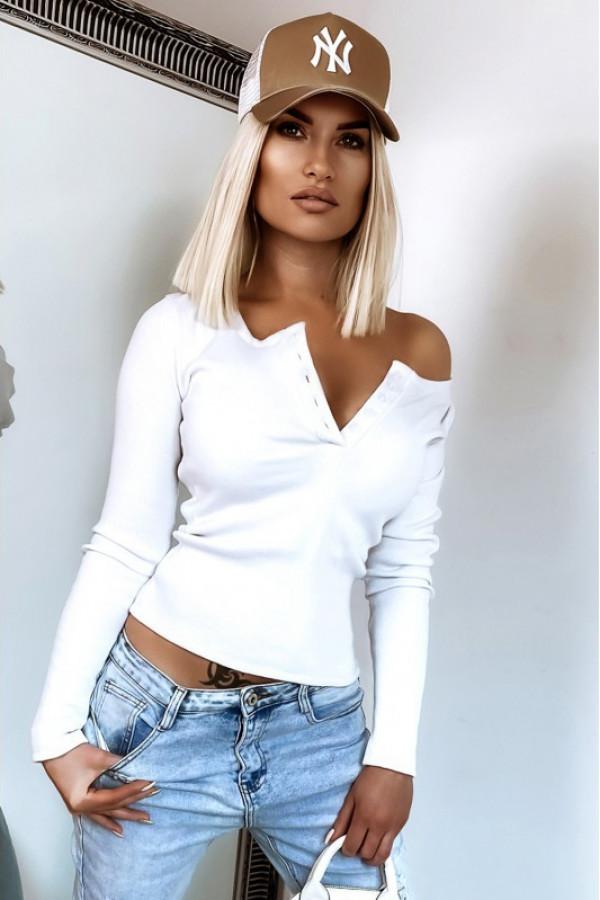 Biała bluzka damska V-Neck Donatella