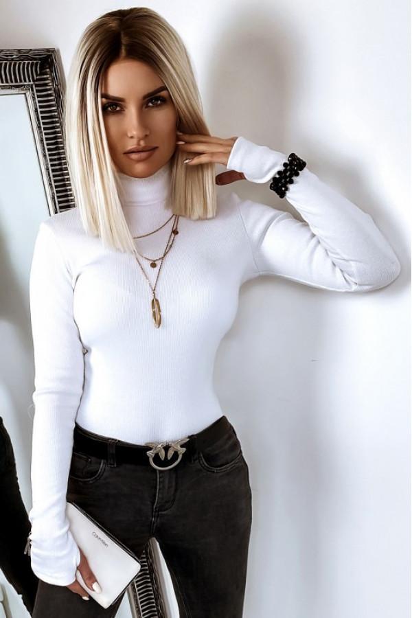 Biała bluzka damska z golfem Edda