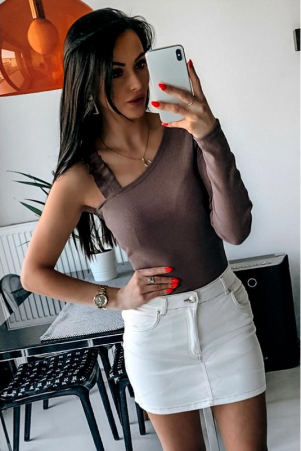 Brązowa bluzka na jedno ramię Giulia