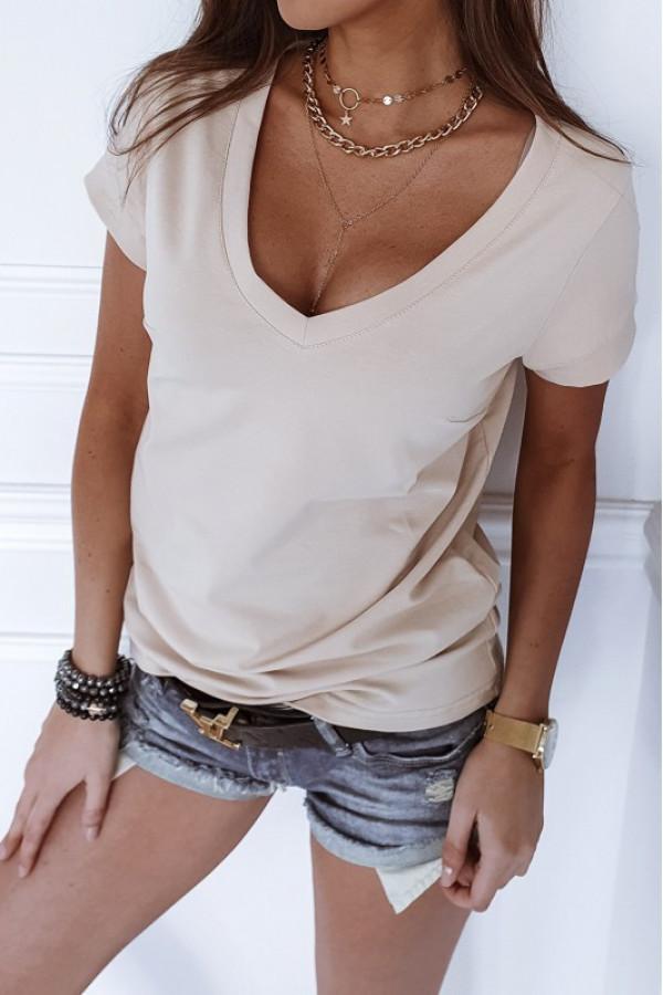 Beżowy t-shirt V-Neck Chantal