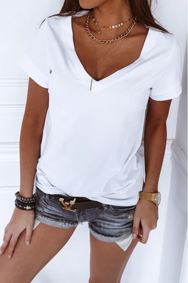 Biały t-shirt V-Neck Chantal