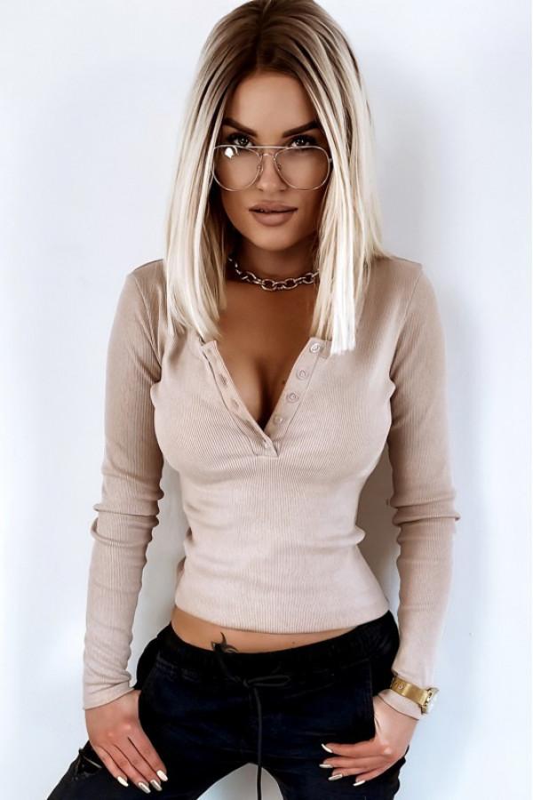 Beżowa bluzka damska V-Neck Donatella