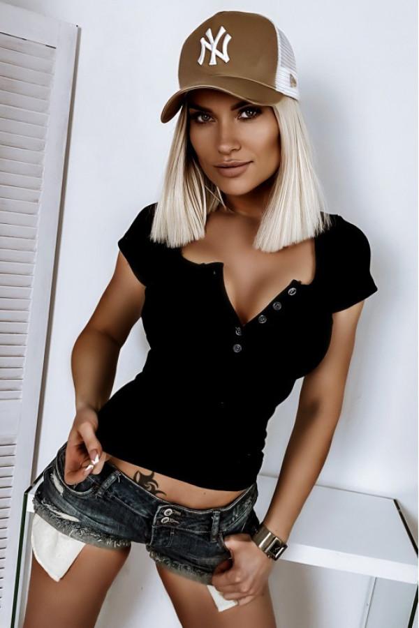 Czarny t-shirt w prążkowany materiał V-Neck Kaylee