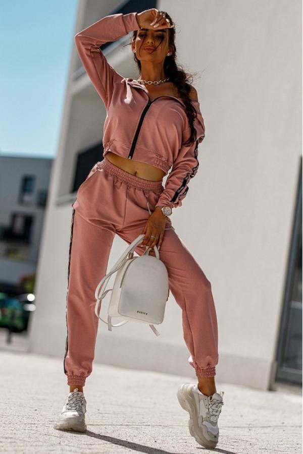 Brudno różowy komplet dresowy z bluzą i spodniami Hailey