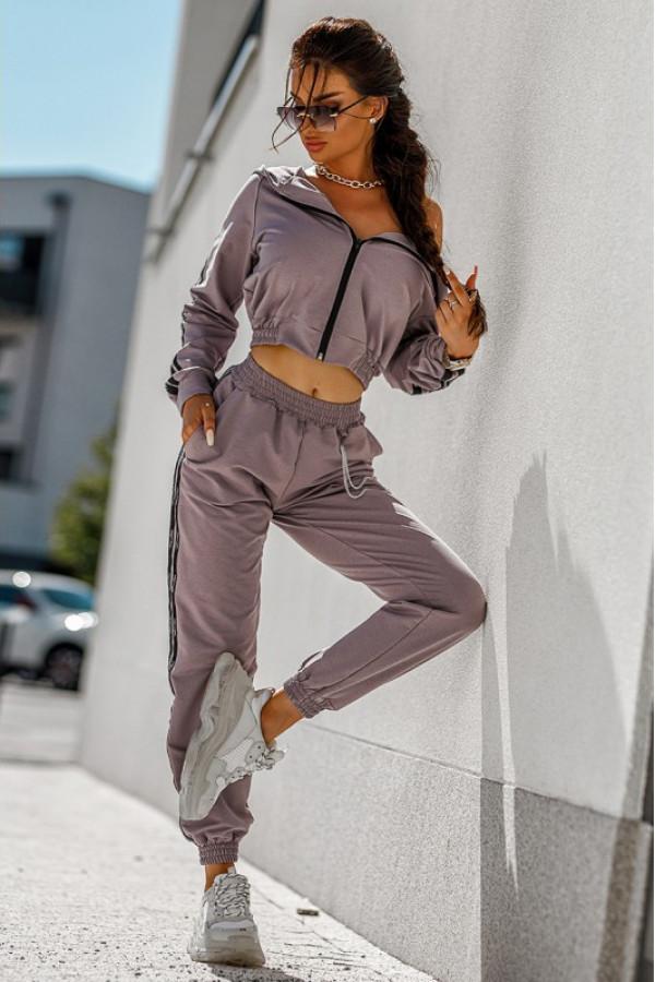 Liliowy komplet dresowy z bluzą i spodniami Hailey