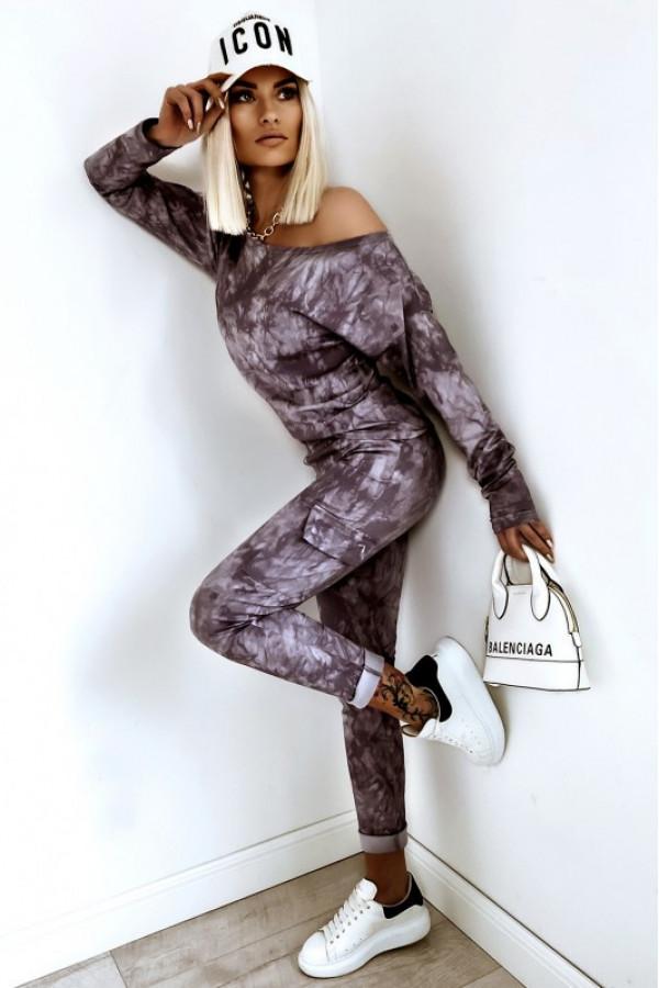 Fioletowy komplet damski z bluzą i spodniami Tie Dye
