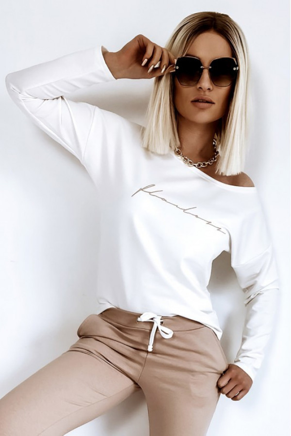 Beżowy komplet dresowy z bluzą i spodniami Flawless