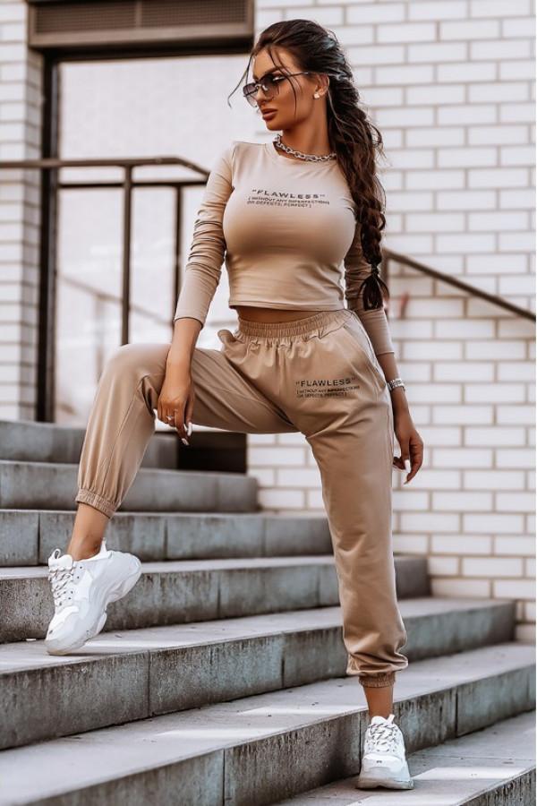 Beżowy bawełniany komplet damski z bluzką i spodniami Scarlett