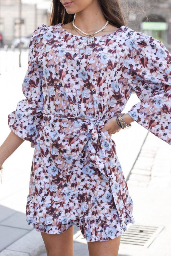 Brązowo-niebieska sukienka rozkloszowana z bufiastymi rękawami Chica