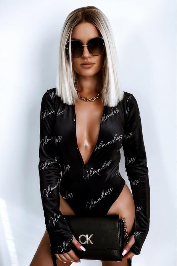 Czarne welurowe body damskie z zipem napisy Zélie