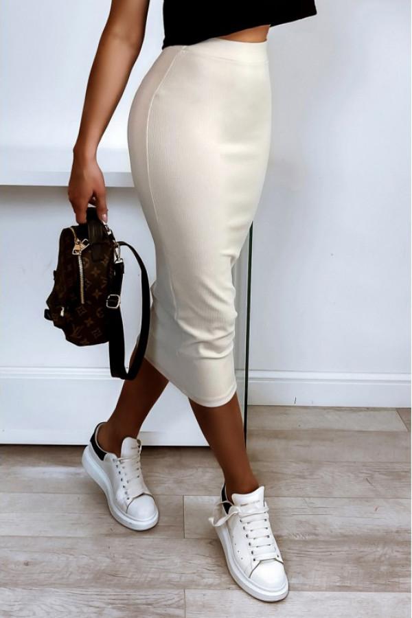 Beżowa ołówkowa dopasowana spódnica midi Alix