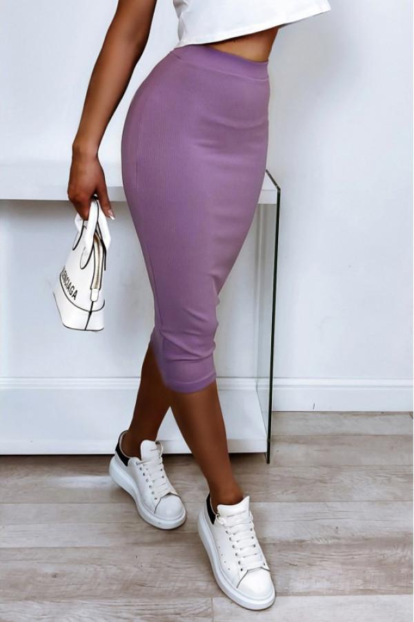 Liliowa ołówkowa dopasowana spódnica midi Alix