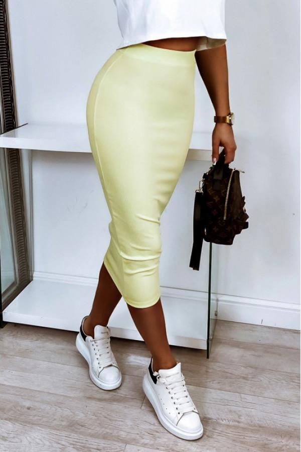 Pastelowo żółta ołówkowa dopasowana spódnica midi Alix