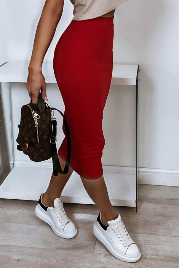 Czerwona ołówkowa dopasowana spódnica midi Alix