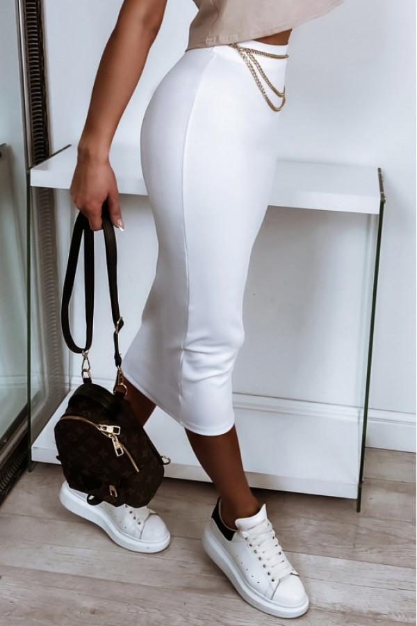 Biała ołówkowa dopasowana spódnica midi Alix